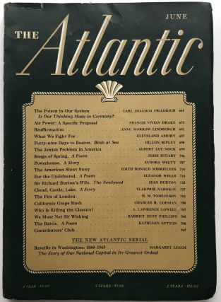 The Atlantic Monthly magazine, June 1941. Vladimir Nabokov, Jesse Stuart, Eudora Welty