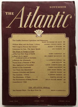 The Atlantic Monthly magazine, November 1941. Vladimir Nabokov, Stephen Vincent Benet, Edmund Wilson
