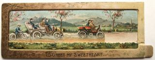 1910s moveable Valentine featuring autocars & a bicyclist. Raphael Tuck, Sons