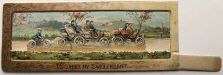 1910s moveable Valentine featuring autocars & a bicyclist