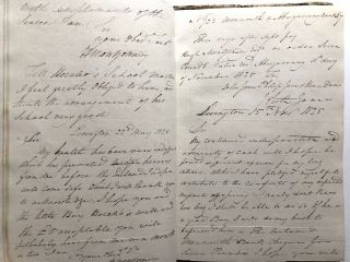 1820-1829 copy book of letters detailing support for an orphaned child from the deceased father's good friend