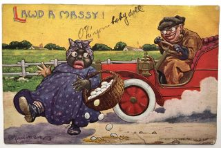 6 humorous postcards, including a racist one by Wall and a sexist one by Wellman, 1909-1914