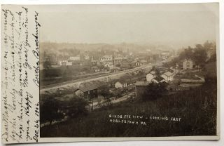 2 real photo postcards Birds Eye View of Noblestown, PA Ca. 1906