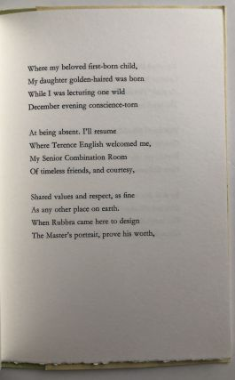 Cambridge -- inscribed copy of this long poem
