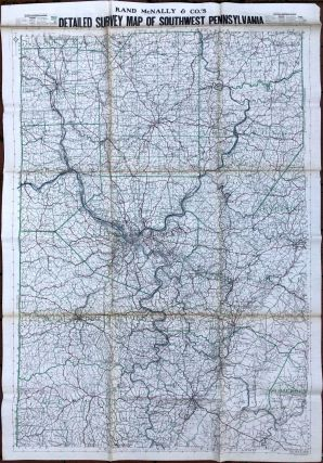 Detailed Survey Map of Southwest Pennsylvania (1915, on linen). Rand McNally, Co