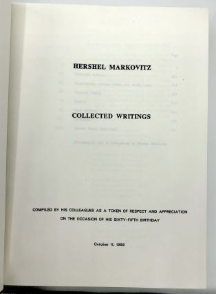 Collected Writings, compiled by his colleagues as a token of respect and appreciation on the occasion of his 65th birthday, October 11, 1986