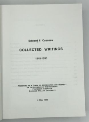 Collected Writings 1949-1995, presented as a token of appreciation and respect on the occasion of his becoming Professor Emeritus, Carnegie Mellon University, 4 May 1996