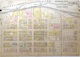 "1890 linen backed map 27 x 19.5"" Pittsburgh South Side"