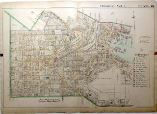 "1890 linen backed map 27 x 19.5"" Pittsburgh Mt. Oliver & Knoxville"