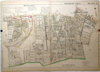 "1890 linen backed map 27 x 19.5"" Pittsburgh South Side Slopes"