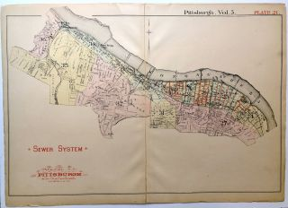 "1890 linen backed map 27 x 19.5"" Pittsburgh Sewer System from West End to South Side"