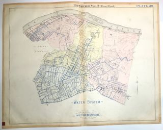 "1899 linen-backed 28 x 22"" maps: Pittsburgh's East End Sewer & Water System"