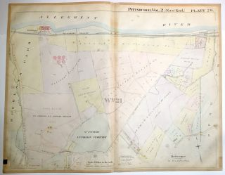 "1899 linen-backed 28 x 22"" map: Pittsburgh's Highland Park, Lincoln Park"