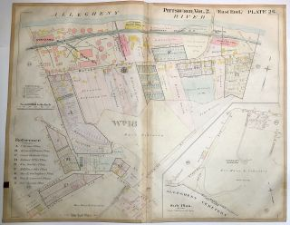 "1899 linen-backed 28 x 22"" map: Pittsburgh's Stanton Hts down to Butler St"
