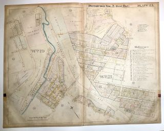 "1899 linen-backed 28 x 22"" map: Pittsburgh's Lincoln-Lemington-Larimer"