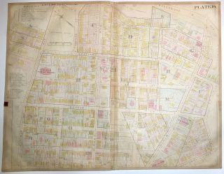 "1899 linen-backed 28 x 22"" map: Pittsburgh's Homewood & Larimer neighborhoods"