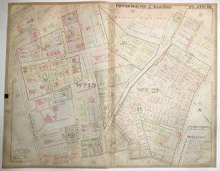 "1899 linen-backed 28 x 22"" map: Pittsburgh's Highland Park neighborhood"