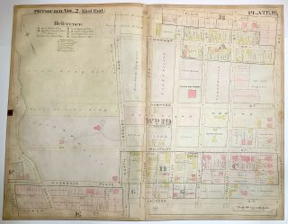 "1899 linen-backed 28 x 22"" map: Pittsburgh Highland Park neighborhood"