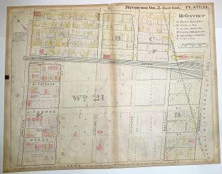 "1899 linen-backed 28 x 22"" map: Pittsburgh Homewood-Brushton neighborhood"