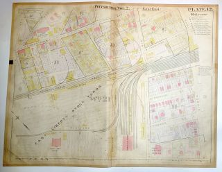 "1899 linen-backed 28 x 22"" map: Pittsburgh North Point Breeze"