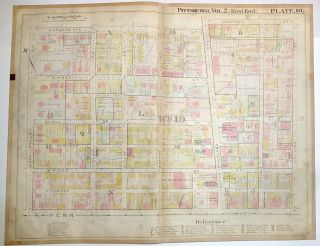 "1899 linen-backed 28 x 22"" map: Pittsburgh East Liberty & Highland Park"