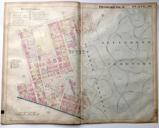 "1900 linen-backed 28 x 22"" map: Pittsburgh Allegheny Cemetery Lawrenceville"