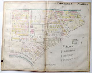 "1900 linen-backed 28 x 22"" map: Pittsburgh Garfield, Lawrenceville, Bloomfield"