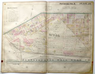 "1900 linen-backed 28 x 22"" map: Pittsburgh Lawrenceville neighborhood"