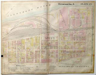 "1900 linen-backed 28 x 22"" map: Pittsburgh Lower Lawrenceville"