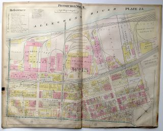 "1900 linen-backed 28 x 22"" map: Pittsburgh Upper Strip District"