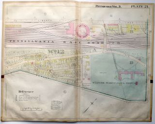 "1900 linen-backed 28 x 22"" map: Pittsburgh Strip District, West Penn Hospital"