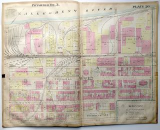 "1900 linen-backed 28 x 22"" map: Pittsburgh Strip 31st-27th Sts"