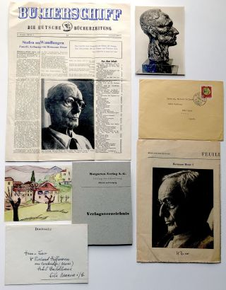 Group of letters, notes, publications, inscribed by Hesse to Richard Hoffman