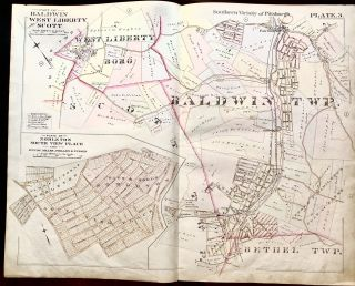 1896 Pittsburgh Plat Map 29 x 23: Baldwin, West Liberty, Scott, Nobleton