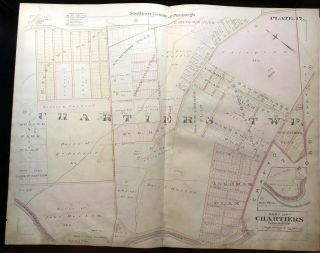 1896 Pittsburgh Plat Map 29 x 23: Chartiers Twp - Broadhead Rd, Ingram Ave