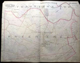 1896 Pittsburgh Plat Map 29 x 23: Greentree & Chartiers