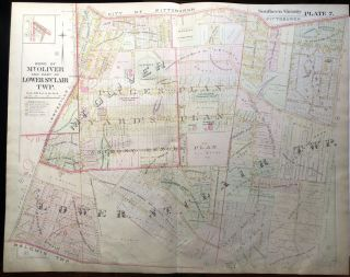 1896 Pittsburgh Plat Map 29 x 23: Lower St. Clair Twp, Mount Oliver