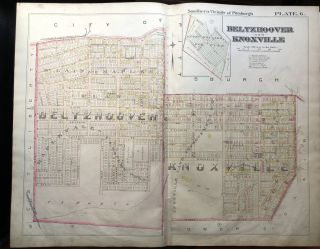 1896 Pittsburgh Plat Map 29 x 23: Beltzhoover & Knoxville