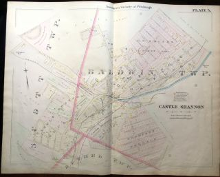 1896 Pittsburgh Plat Map 29 x 23: Castle Shannon