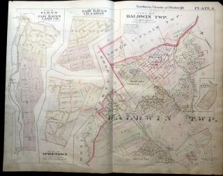 1896 Pittsburgh Plat Map 29 x 23: Baldwin, Fair Haven, Spiketown, etc