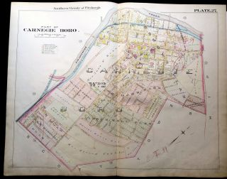 1896 Pittsburgh Plat Map 29 x 23: Part of Carnegie Boro