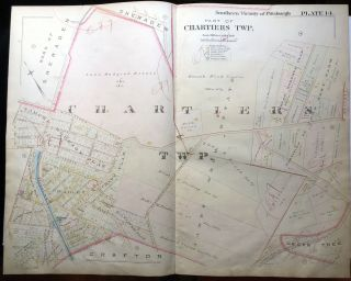 1896 Pittsburgh Plat Map 29 x 23: Chartiers - Middletown Rd, Steuvenville Tpk