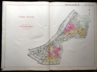 1915 linen-backed 23x31 Plat Map: Sewer System of Pittsburgh