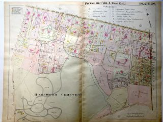 1898 22x29 Pittsburgh Plat Map: Point Breeze, Homewood Cemetery