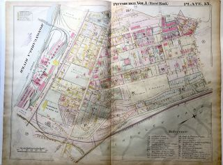 1898 22x29 Pittsburgh Plat Map: South Oakland