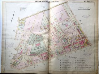 1898 22x29 Pittsburgh Plat Map: Oakland N. of 5th Ave