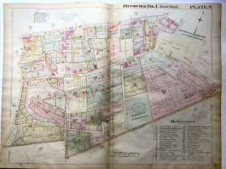 1898 22x29 Pittsburgh Plat Map: Hill District