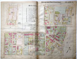 1898 22x29 Pittsburgh Plat Map: Central Hill District