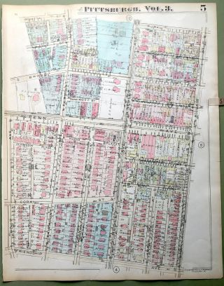 1924 Pittsburgh Plat Map 23x18: Friendship & East Liberty