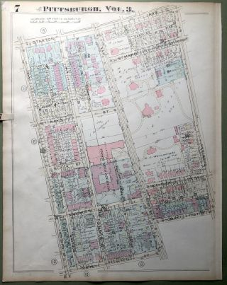 1924 Pittsburgh Plat Map 23x18: Highland Park, South-East